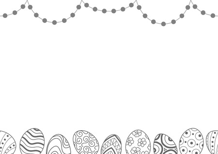 Easter eggs in gray outline and dots line up on top and bottom of picture on white background. Cute hand drawn seamless pattern design for Easter festival in vector illustration.