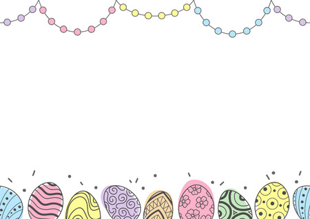 Easter eggs in gray outline and colorful plane and dots line up at top and bottom of picture on white background. Cute hand drawn seamless pattern design for Easter festival in vector illustration.