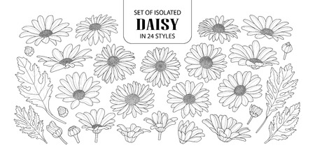 Illustration of a set of black outline flowers on on a white background. Vettoriali