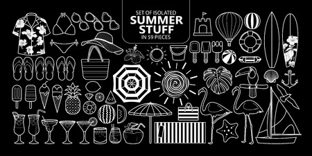 Set of isolated summer stuff in 59 pieces. Cute vector illustration elements for holiday only white outline on black background.