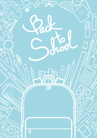 School supplies and school bag in white outline surround text on blue background. Background design for school and education in vector illustration.