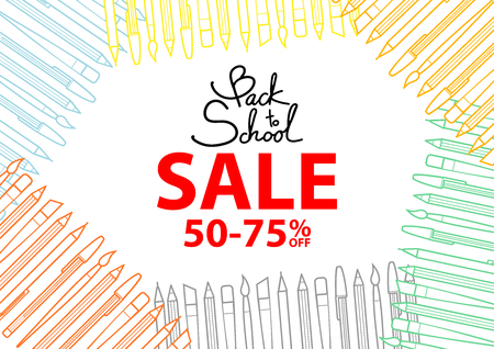 Colorful stationery surround space for text, Back to school sale, at the center. Background design for school and stationery sale event in vector illustration.