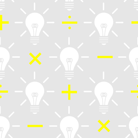 White silhouette light bulb with yellow math sign on gray background. Seamless pattern background design for creative or knowledge in vector illustration. Vectores