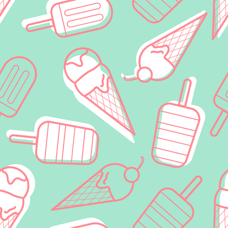 Red outline ice cream with white plane on blue background. Seamless pattern background design for Summer season or ice cream in vector illustration.