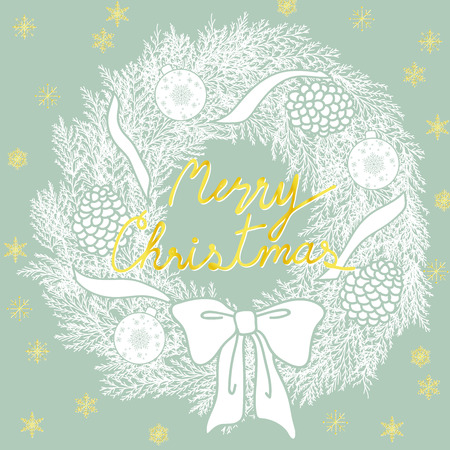 Background design for Christmas in simple flat flat hand drawn graphic. White silhouette wreath and snowflakes are on pastel blue background with space for text.