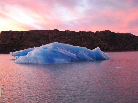 Sunrise over an iceberg, Argentina Lake