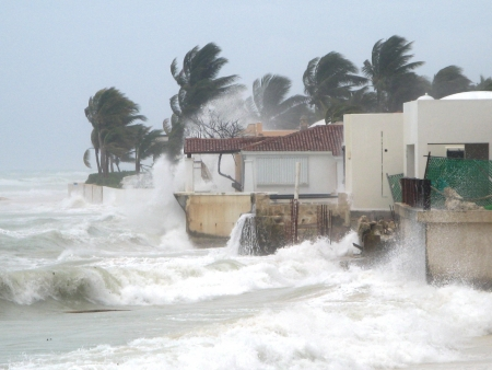 hurricane weather: Morning after Hurricane Dean, Mexico