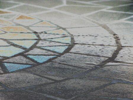 solarized: Solarized mosaic table Stock Photo