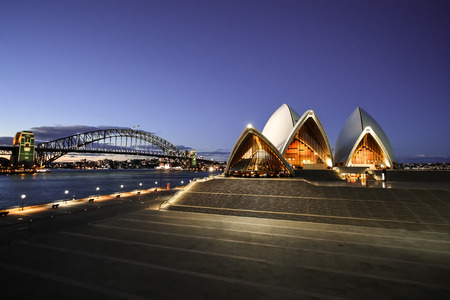 sydney: Sydney Opera House and Harbor Bridge at night Sydney Australia