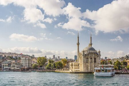 constantinople ancient: View of the Ortaköy Mosque from the Bosphorus (Istanbul, Turkey) Stock Photo