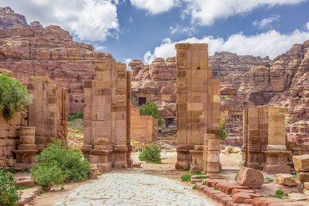colonnaded: Arched Gate in the ancient city of Petra (Jordan)