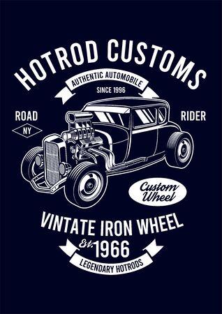 hotrod custom vintage iron wheel Vector Illustration