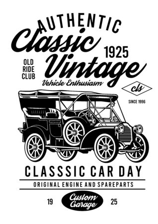 authentic classic vintage car design Vectores