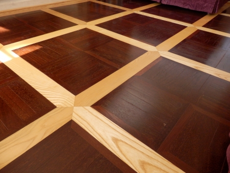 panelled: Contrast of elm panels between hardwood panels used in the construction of a panelled wood floor