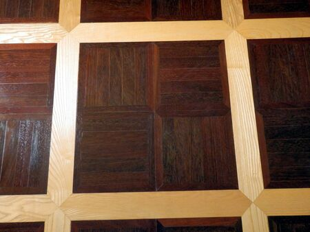Contrast of elm panels between hardwood panels used in the construction of a panelled wood floor Stock Photo - 16933142