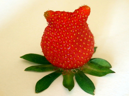 pip: Misshapen strawberry looking like it has a pair of ears Stock Photo