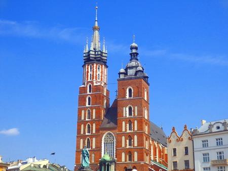 Saint Marys Basilica in Main Square, Krakow, Poland
