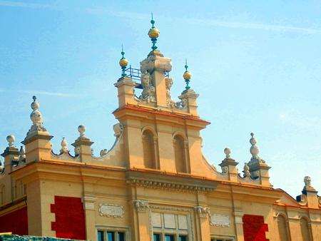 parapet: The parapet of Cloth Hall in Main Square, Krakow, Poland