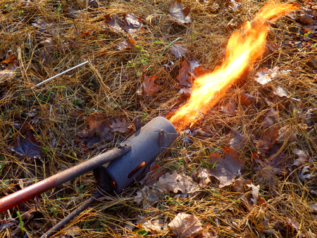 combustible: Flame gunthrower after coil warming up and starting to throw the flame out of the front