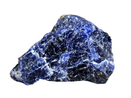 Specimen of rough Lapis Lazuli isolated on a white background