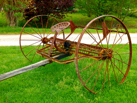 French vintage spring tine harrow rusted over time