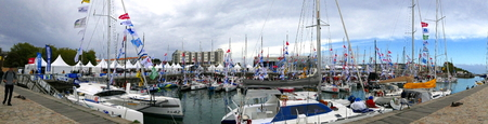 La Rochelle, France - Sunday 22nd September 2019. Panoramic view of the yachts berthed in the old port at La Rochelle prior to the start of the Mini Transat 2019 solo sailing race. Éditoriale