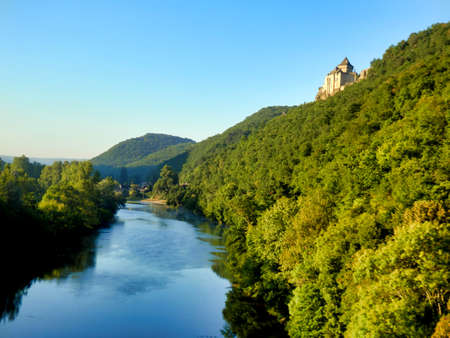 River Dordogne as seen by a hot air balloon coming down to land on the river