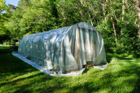 Sheet of polythene laid loosely over a polytunnel construction prior to tightening and cutting to size