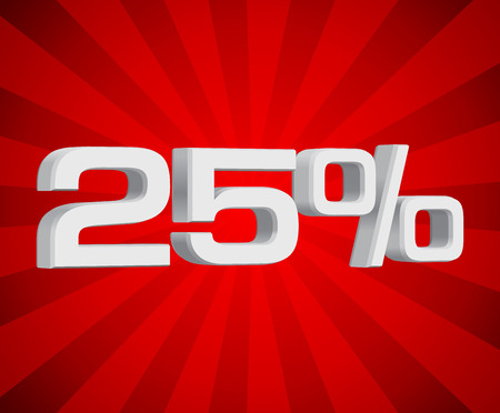 volume discount: discount of twenty five percent white on red