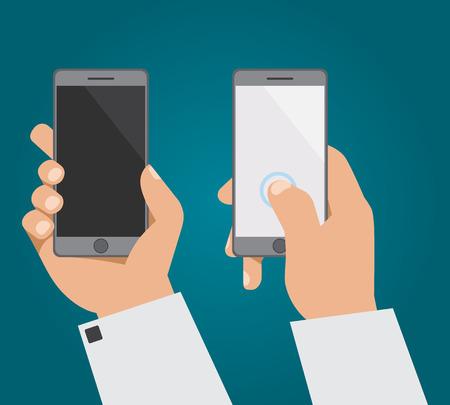 alzando la mano: La mano con el tel�fono en dos posiciones Vectores