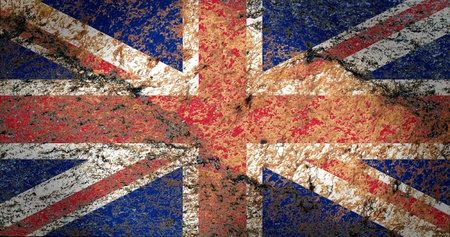 old english: Union Jack Flag on the rock texture Stock Photo