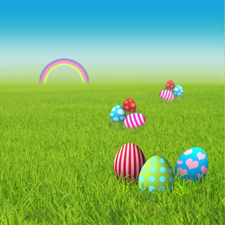 Colorful easter eggs in the green grass with rainbow photo