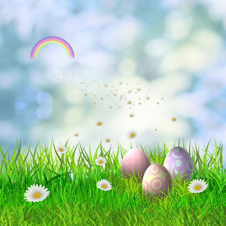 Colorful easter eggs in the green grass photo
