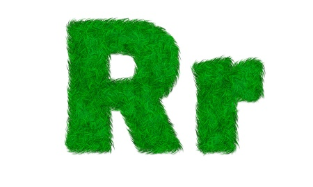 Green grass letter isolated on white background