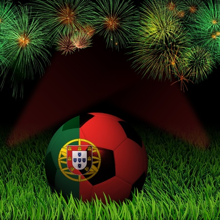 Soccer ball with flag of Portugal, fireworks celebration photo