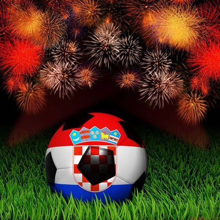 Soccer ball with flag of Croatia, fireworks celebration photo
