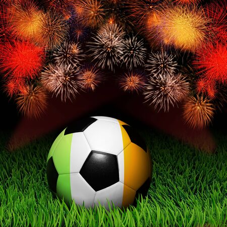 Soccer ball with flag of Ireland, fireworks celebration photo