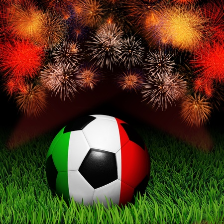 Soccer ball with flag of Italy, fireworks celebration photo