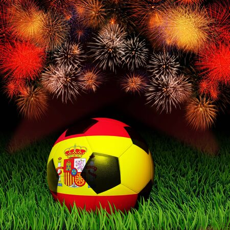 Soccer ball with flag of Spain pattern on the grass, fireworks celebration photo