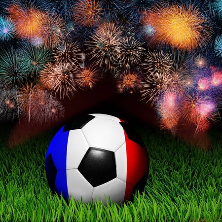 Soccer ball with France flag pattern on the grass, fireworks celebration  photo