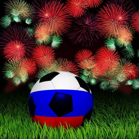 Soccer ball with Russia flag pattern on the grass, fireworks celebration photo