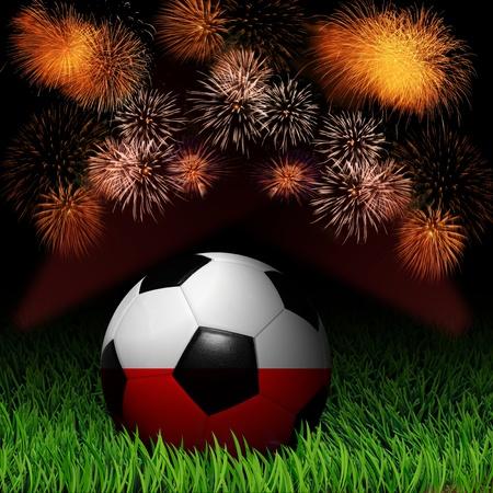 Soccer ball with flag of Poland fireworks celebration Stock Photo - 13919275