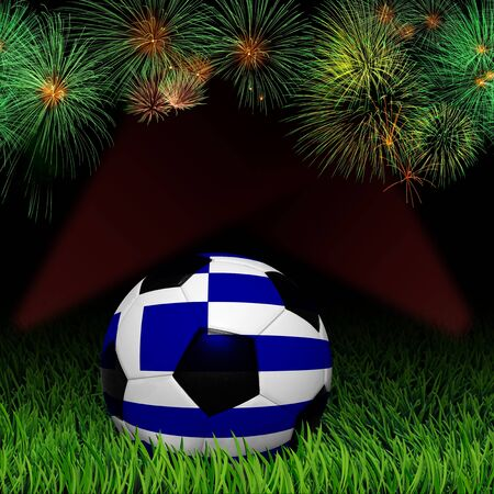 Soccer ball with flag of Greece, fireworks celebratio photo