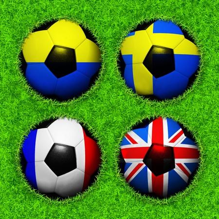 4 Soccer balls with flag pattern on the grass, Group D photo