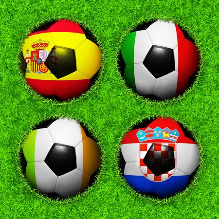 4 Soccer balls with flag pattern on the grass, Group C photo