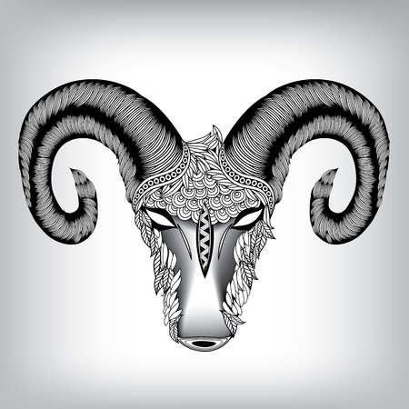 aries zodiac: Hand Drawn Head of Aries Illustration, Vector background EPS 8
