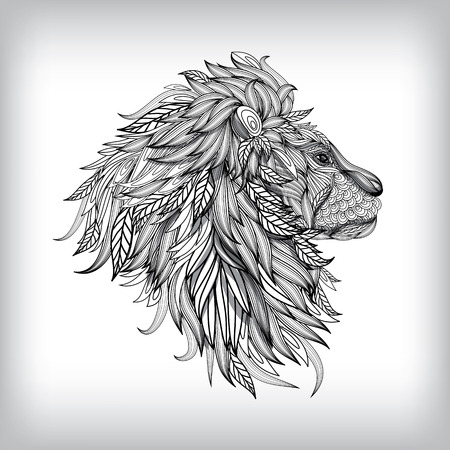 head in hands: Hand Drawn Lion Illustration, Vector background EPS10