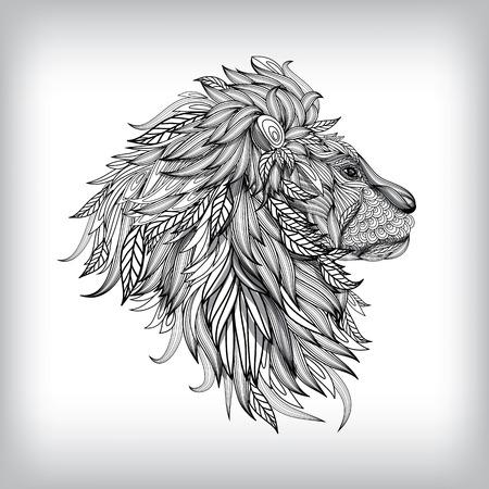 LEONES: Mano Ilustración León Drawn, Fondo del vector EPS10