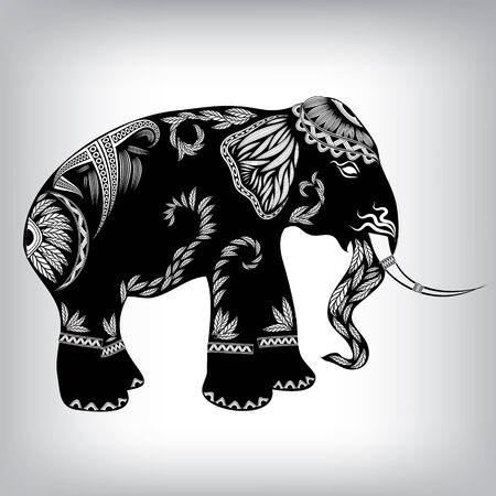 ear bud: Hand Drawn Tribal Totem Elephant Animal Vector Illustration, Background EPS10