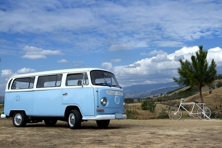 blue car,bluesky, trip tour, sky,moutain , Stock Photo - 12415405